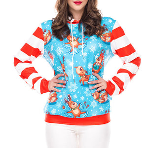 Prettymia Leisure Animal Print Round Neck Hoodies