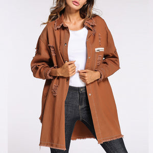 Prettymia Hole Long Sleeve Single Breasted Coat