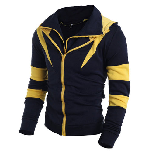 Prettymia Color-blocked Turn-down Collar Men's Jacket