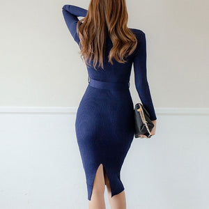 Prettymia Slim Fit Knitting With Belt Bodycon Dress