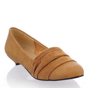 Prettymia Vintage Suede Plain Pleated Casual Shoes