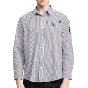 Prettymia Slim Striped Shirt Collar Men's Shirt