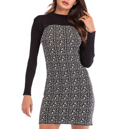 Prettymia Houndstooth Patchwor Pullover Knitted Dress