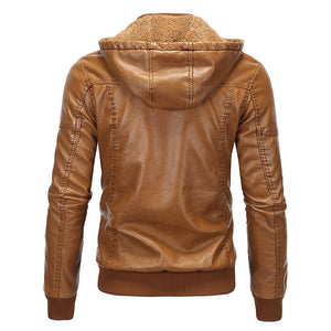 Prettymia PU Hooded Stand Collar Pocket Men's Leather Coat