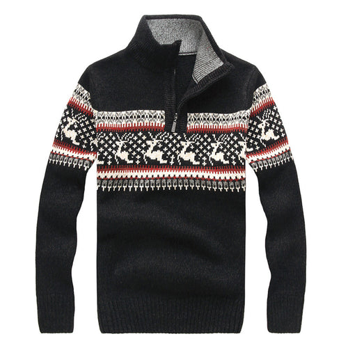 Prettymia Pullover Printing Coarse Wool England Men's Sweater
