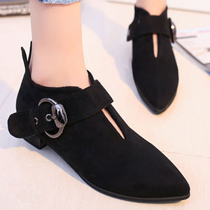 Prettymia Pointed Toe Buckle Loafers
