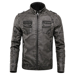 Prettymia Epaulet Worn Stand Collar Zipper Men's Leather Coat