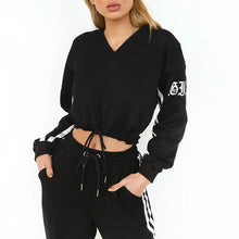 Prettymia Striped Hooded Pullover Sports Suit