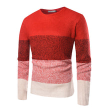 Prettymia Hit Color Casual Round Neck Cotton Blends Men's Sweater