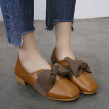 Prettymia Square Toe Bowknot Chunky Low Heel Loafers