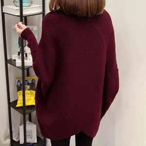 Prettymia Irregular Pure Color High Neck Sweaters