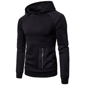 Prettymia Striped Patchwork Stand Collar Men's Hoodies