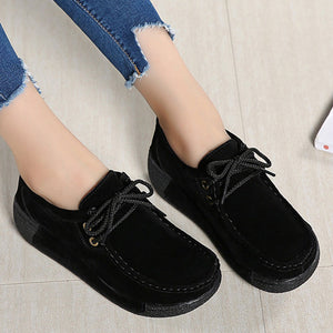 Prettymia Suede Lace Up Round Toe Casuals Shoes