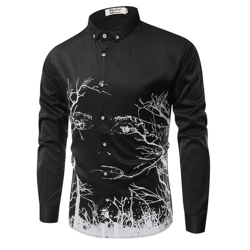 Prettymia Branch Printing With Long Sleeves Men's Shirt