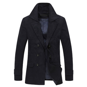 Prettymia Single-Breasted Wool Blends Plain Men's Trench Coat
