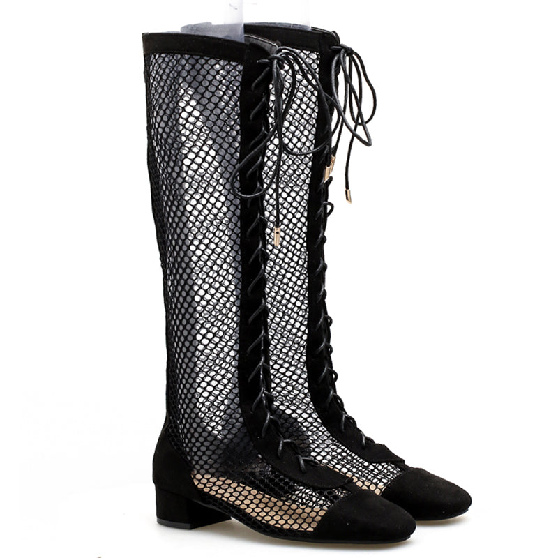 22a86c1473d Prettymia Hollow Square Toe Lace Up Knee High Boots – prettymia