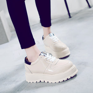 Prettymia Elevator Heel Lace Up Platform Casual Loafers