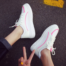Prettymia Round Toe Lace Up Casual Platform Sports Shoes