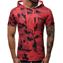 Prettymia Sleeve Hooded Camouflage Men's T-shirt