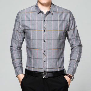 Prettymia Business Long Sleeve Cotton Plaid Men's Shirt