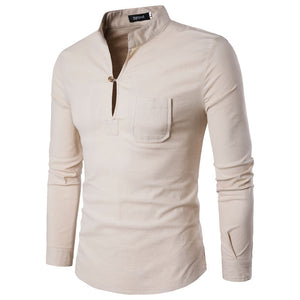 Prettymia Pure Color Cotton Blends Leisure Long Sleeves Men's Shirt