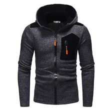 Prettymia Zippered Casual Contrast Color Cotton Blends Men's Hoodies