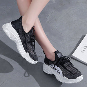 Prettymia Round Toe Lace Up Mesh Breathable Sneakers