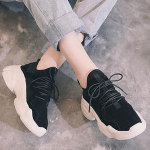 Prettymia Plain Round Toe Lace Up Sneakers