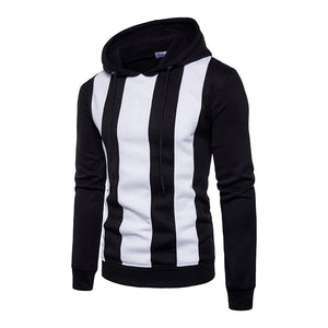 Prettymia Stripe Contrast Color Hooded Pullover Men's Hoodies