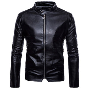 Prettymia Plus Size Zippered Stand Collar PU Men's Leather Coat
