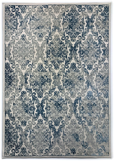 Airmont 113 Rug top view dark blue light blue damask patter cream background
