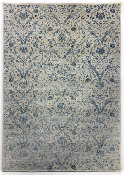 Airmont 118 Rug overall light blue thin damask pattern cream background