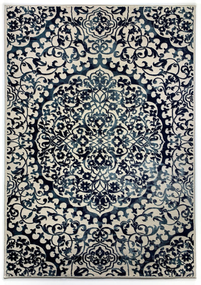 Airmont 145 rug overall view bold blue medallion pattern cream background