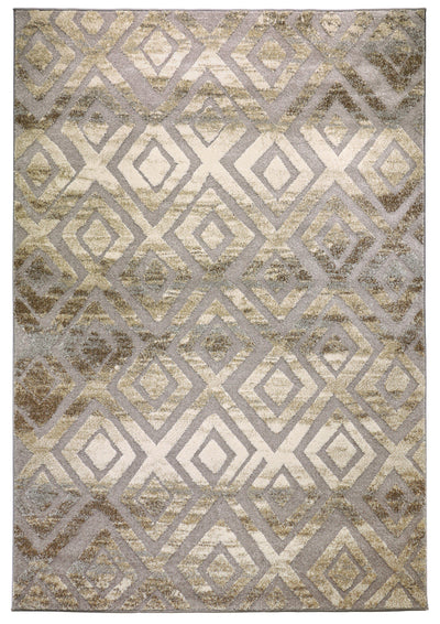 Allure 5 rug overall view diamond geometric beige grey cream
