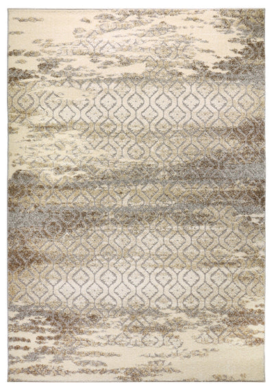 Allure 7 Rug overall view traditional trellis pattern worn light grey cream brown texture