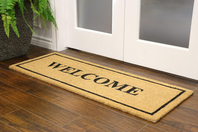 """Welcome"" Border Welcome Mat 18""x48"" - Area Rug Shop"