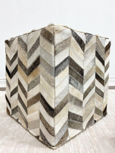 Cowhide Pouf - Chevron - Area Rug Shop