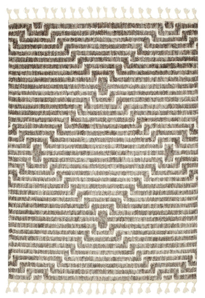 Boho rug cream biege and brown trellis pattern with tassels , top view