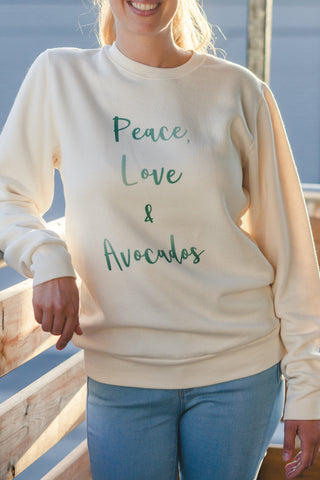 Vegan Outfitters Bamboo Women's Crew Neck Sweater - Peace, Love & Avocados