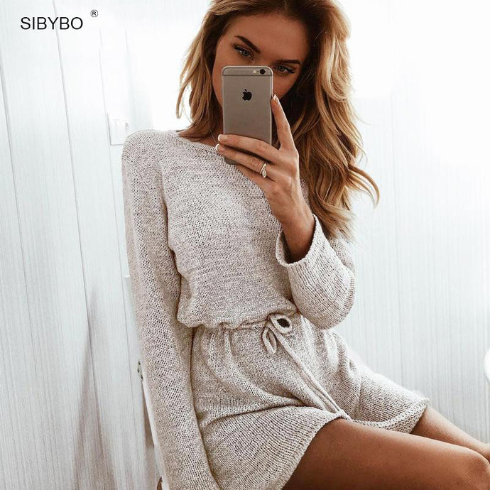 Long Sleeve Knitted Playsuit