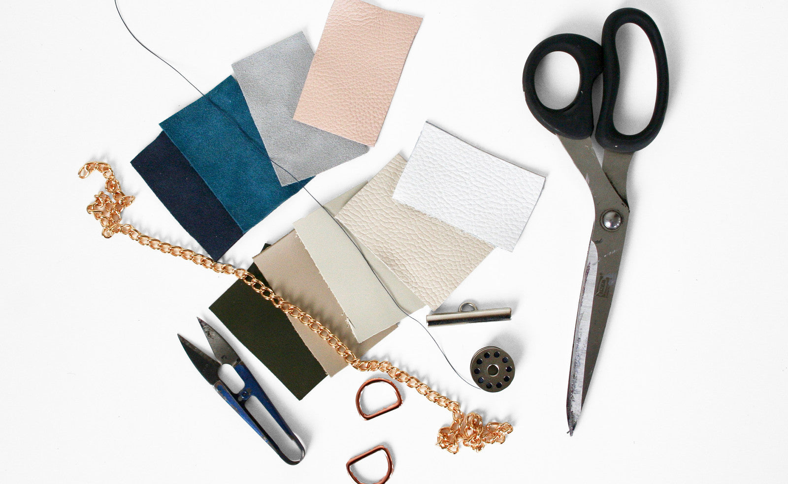 Baia Bags Bepsoke Tools Creating and Designing with Leather Samples. Made in England
