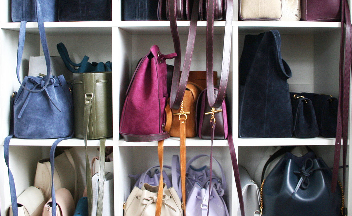 Baia Bags - Independent British Handbags Made in England - Baia's Yorkshire Studio - Handbags Shelf all bags made by hand - Studio B Fashion - B Stories