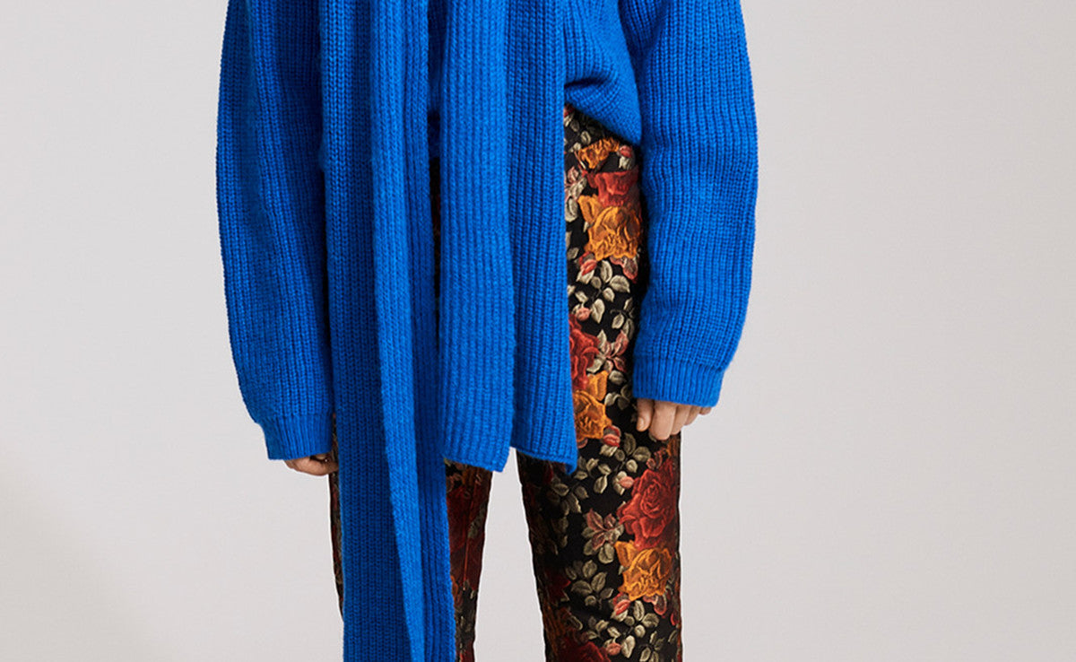 Gestuz - Danish Contemporary Premium Brand - AW17 Collection Burgundy Floral Jacquard Trousers and Blue Knit Jumper - Studio B Fashion - Find something different. B unique. B you