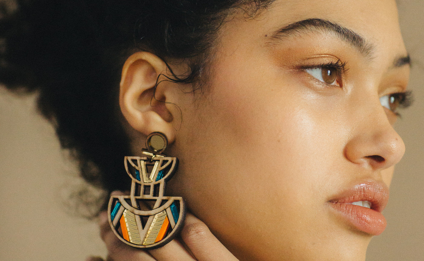 Chalk Jewellery - Handcrafted Statement Jewellery - Moyo Earrings Gold and Orange Model Styled Shot - Studio B Fashion