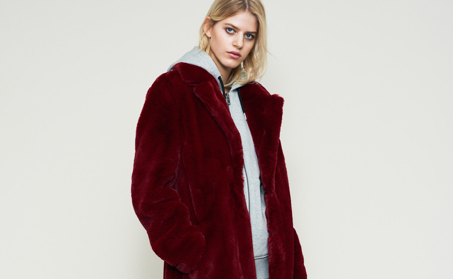 Gestuz - Danish Contemporaery Premium Brand - AW17 Collection Dehla Faxu Fur Burgundy Long Coat - Studio B Fashion - Find something different. B unique. B you.
