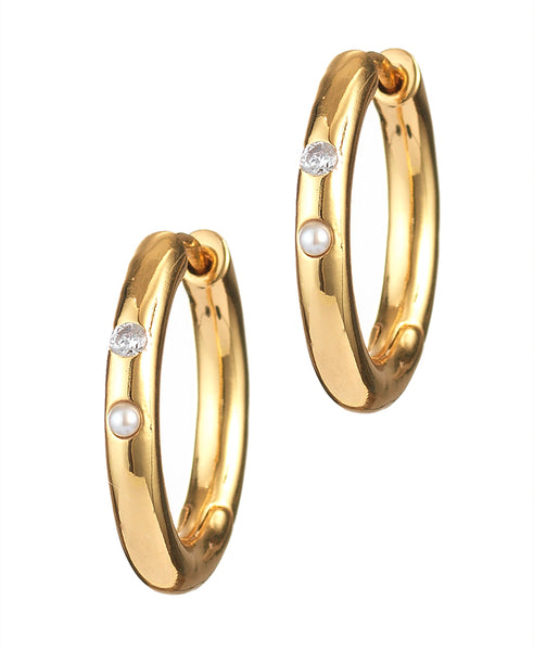 Anni Lu. Brigitte Hoops. Studio B Fashion. Gold hoops with two small gemstones