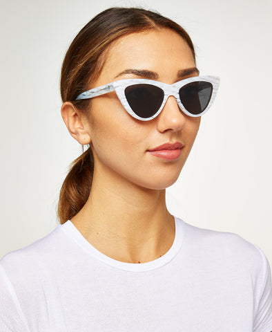 Nancy Slim Cateye White Pearl Sunglasses