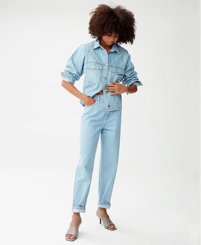 Gestuz Light Blue Vintage High Waist Straight Jeans