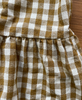 April meets October. May Dress Camel Gingham made in LA. Studio B Fashion.