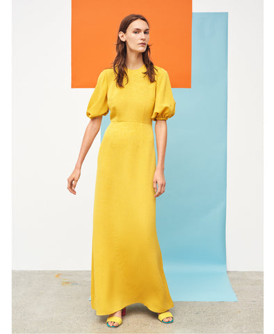 Delia Textured Maxi Dress Yellow Gold